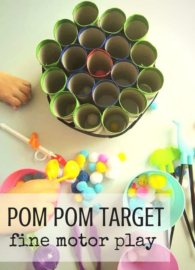 Best Toys 4 Toddlers - Simple fine motor play with pom pom target made of paper rolls