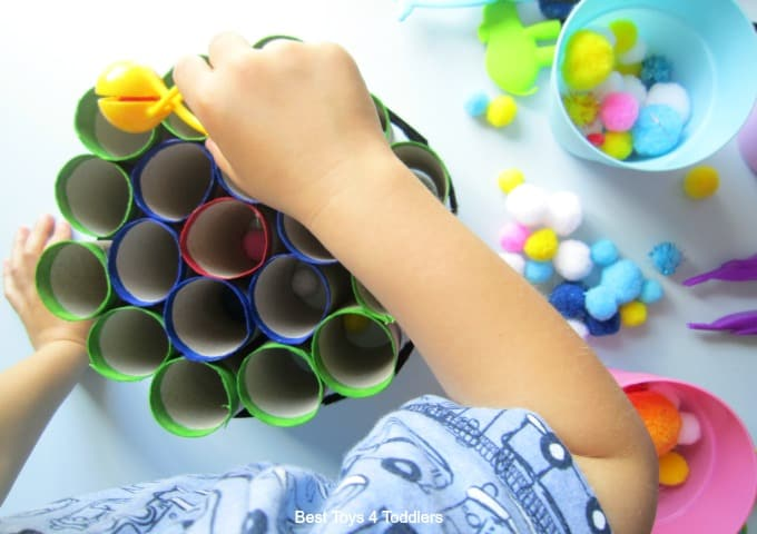 Pom Pom fine motor play activity