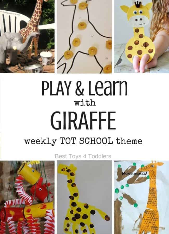 Best Toys 4 Toddlers - 7 Days of Giraffe Themed Activities for Tot School - play and leaning activities for toddlers and preschoolers with free printable weekly planner