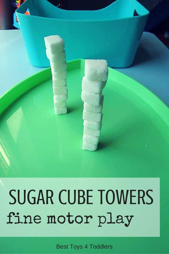 Best Toys 4 Toddlers - Sugar cube towers for fine motor practice with toddlers and preschoolers