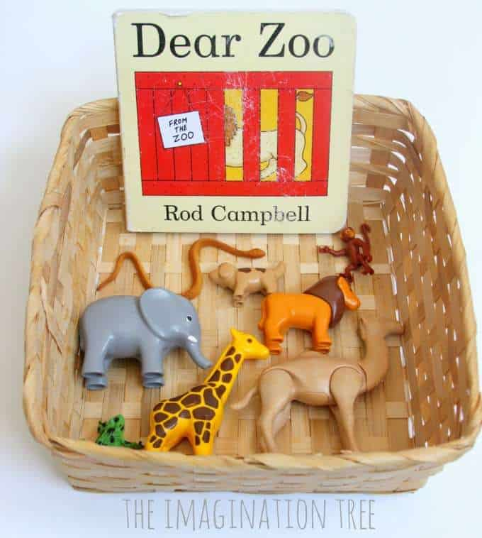 tot school alphabet activities for letter G - dear zoo storytelling basket