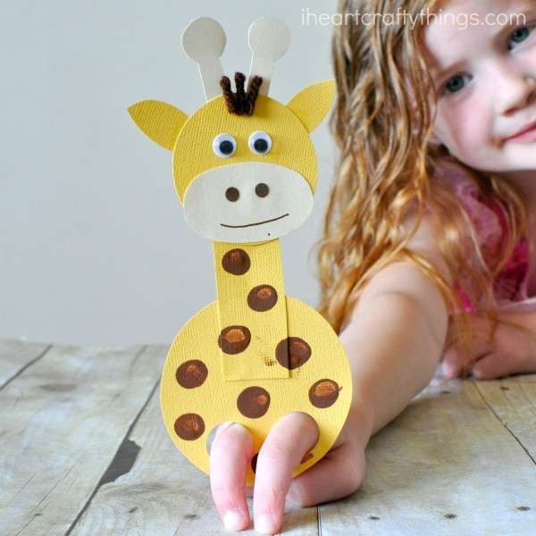 giraffe finger puppet for storytelling and imaginative play, part of tot school schedule