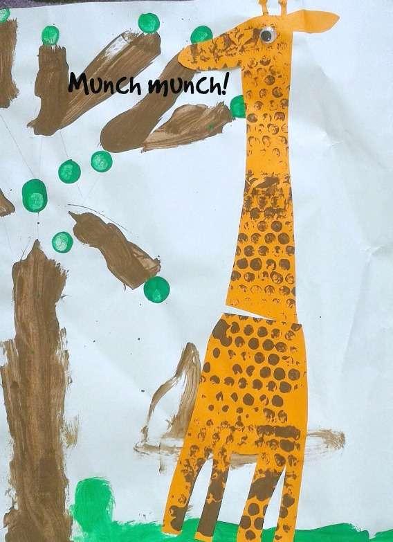Tot school - letter G - bubble wrap giraffe craft