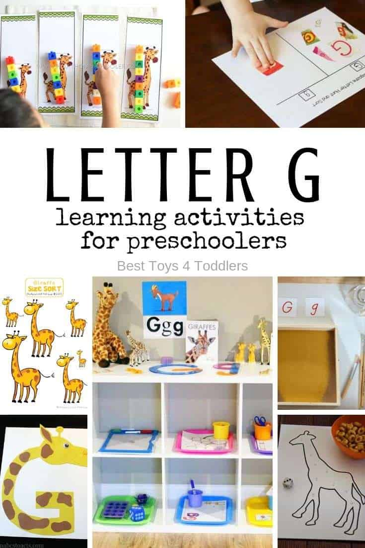 Letter G and giraffes - activities for toddlers and preschooler, from letter recognition, writing to beginner math