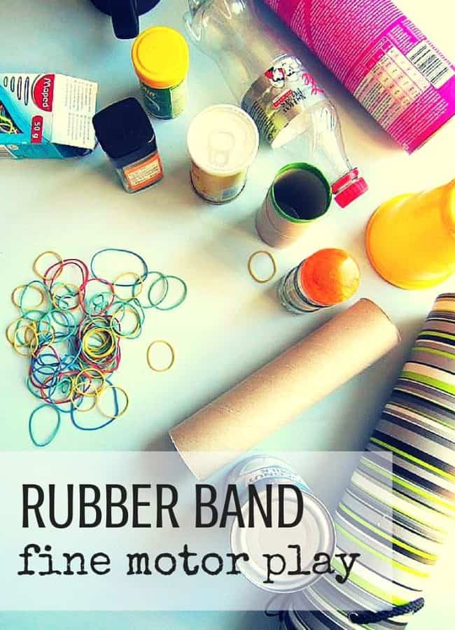 Best Toys 4 Toddlers - Rubber band fine motor play with common items found at home, great for toddlers and preschoolers