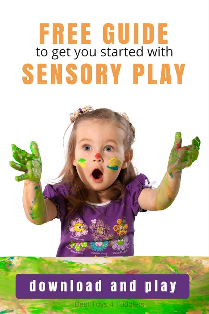 Best Toys 4 Toddlers - Free e-book guide to sensory play for parents and educators, including how to start with sensory play, how to make first sensory bag, bin or bottle, benefits to language, motor and cognitive development, along with ideas to engage all 8 senses