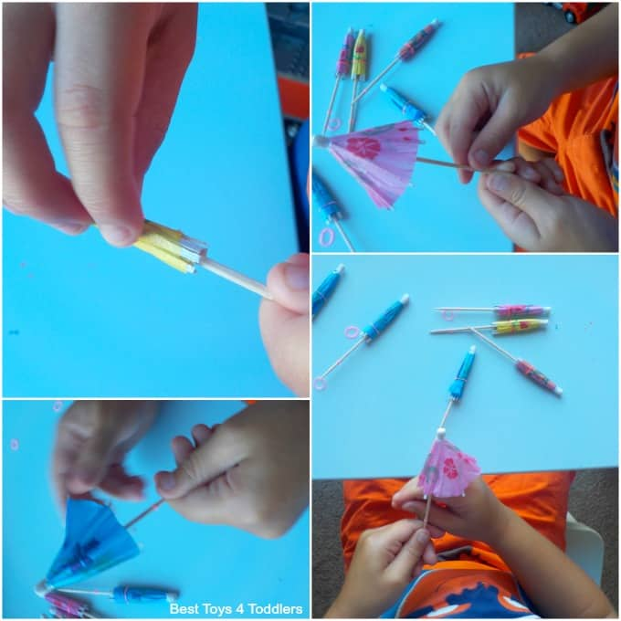 Fine motor skills with cocktail umbrellas