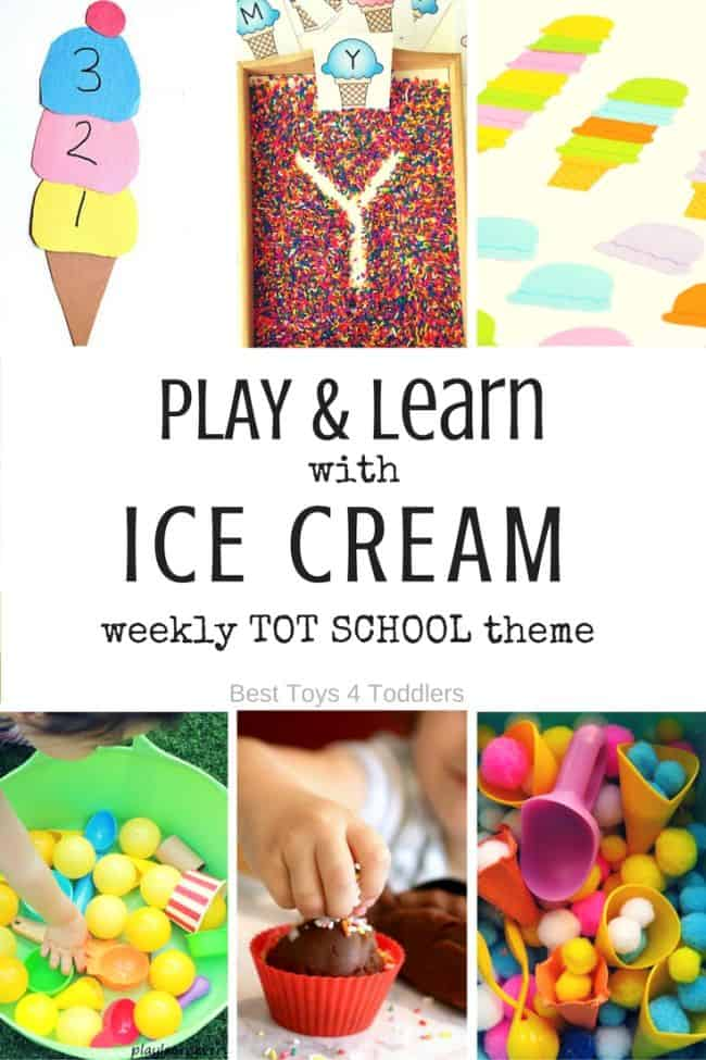 Best Toys 4 Toddlers - 7 Days of Ice Cream Themed Activities for Tot School - play and leaning activities for toddlers and preschoolers with free printable weekly planner