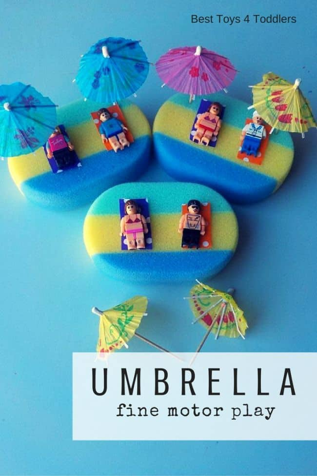 Best Toys 4 Toddlers - Set up a beach scene for toddlers and get them to work on fine motor skills!