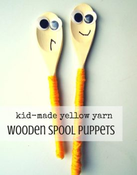 Yellow Yarn Wooden Spoon Puppets