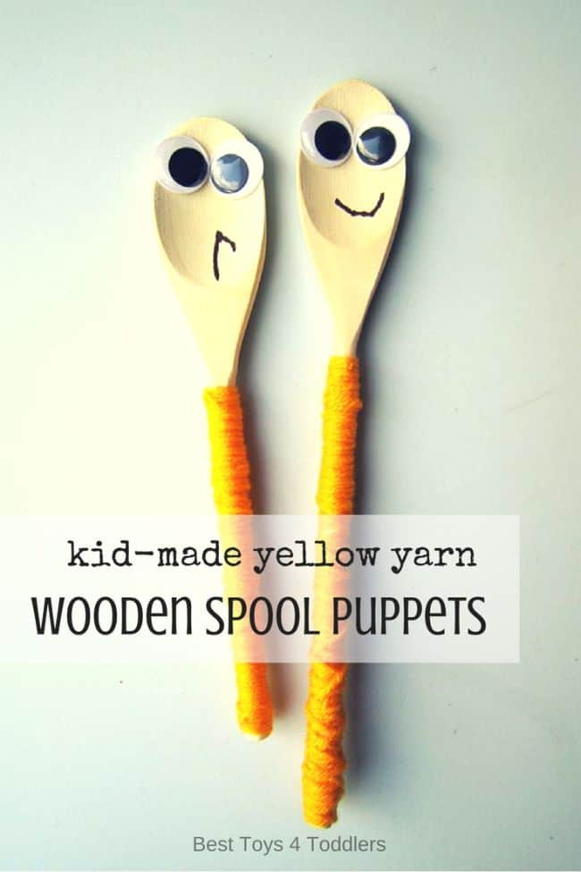 Best Toys 4 Toddlers - Child-made wooden spool puppets as a way to practice fine motor skills