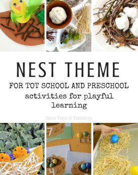 Best Toys 4 Toddlers - Nest theme for tot school and preschool with week long play and learning based activities and printable planner