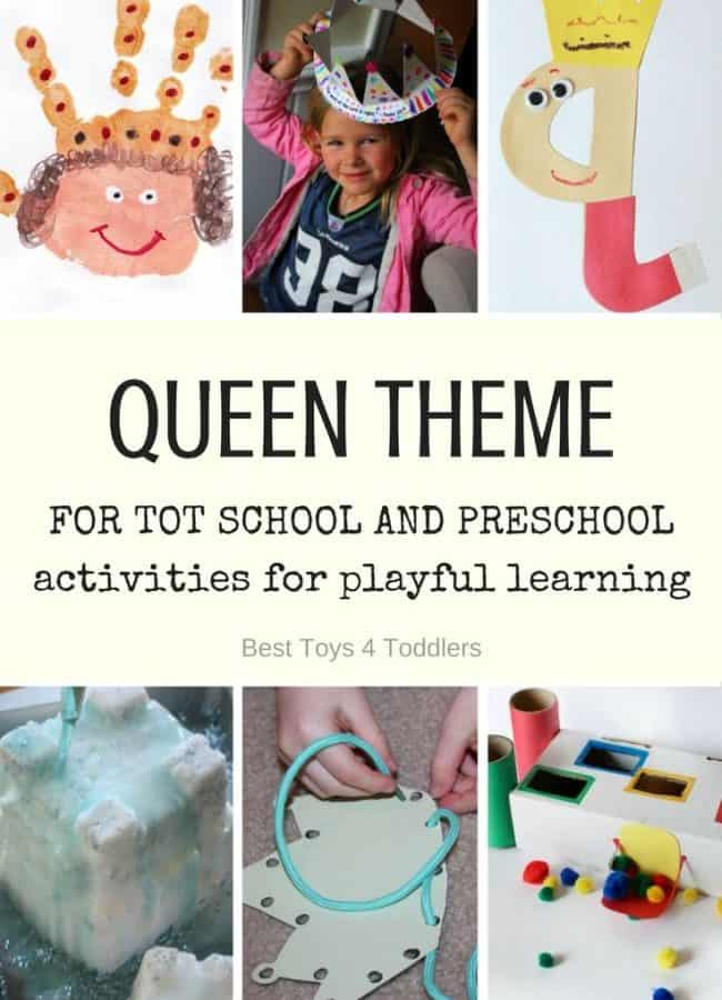 Best Toys 4 Toddlers - Weekly tot school and preschool theme - QUEEN (with free printable weekly planner)