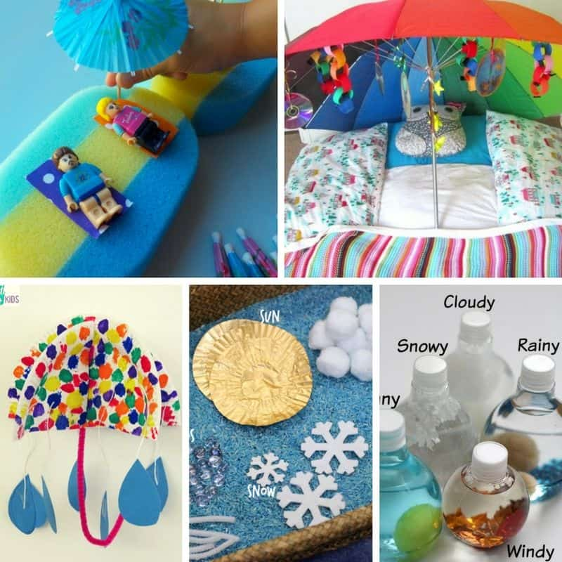 Ideas for play activities for toddlers and learning activities for preschoolers to match letter U is for Umbrella