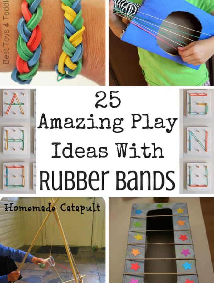 Collage of amazing rubber band activities