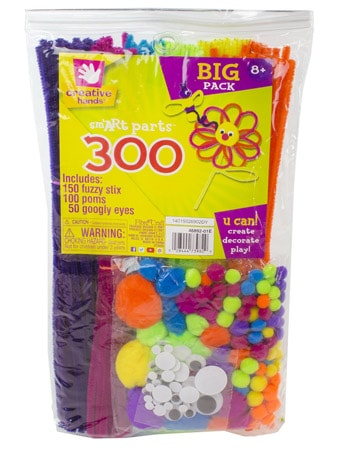 Best Art and Craft Supplies For 3 Year Olds - Creative Hands 300 Piece Assorted Sm'ART Parts