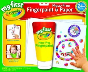 Best art supplies for 2 year old toddlers - finger painting is fun both as an art and sensory experience!