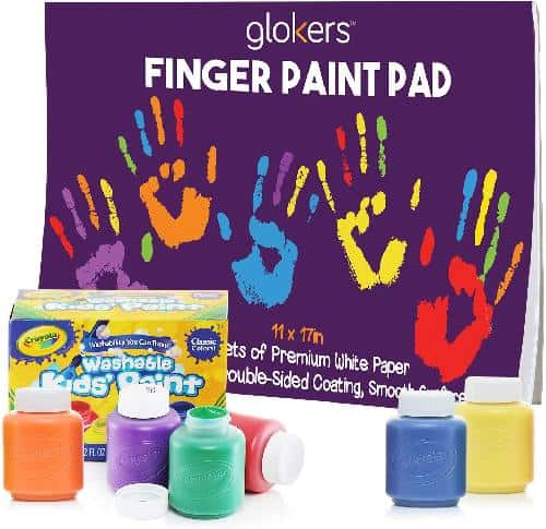 Finger Paint Paper Pad and 6 Non-Toxic Washable Crayola Paint