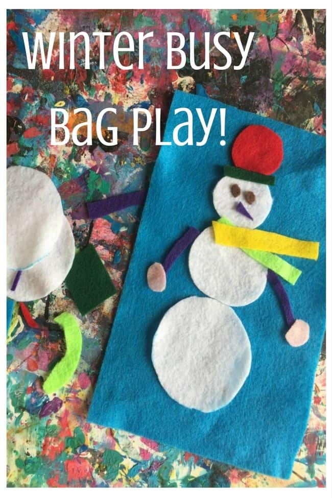 Winter busy bag with felt snowman and snowflakes for kids to make and play.