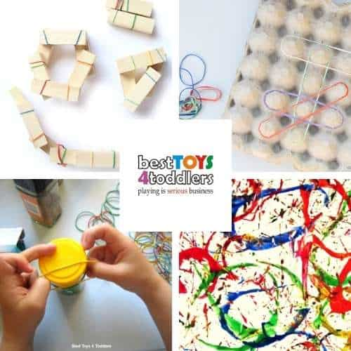 activities with rubber bands - building and binding material with wooden blocks, Homemade geoboard, rubber bands for fine motor practice, rubber band painting