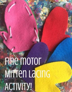 Winter Fine Motor Activity: 'Sewing' Mittens