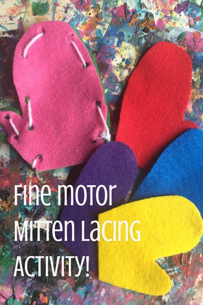 fine motor mitten lacing activity for toddlers and preschoolers to work on hand-eye coordination this winter