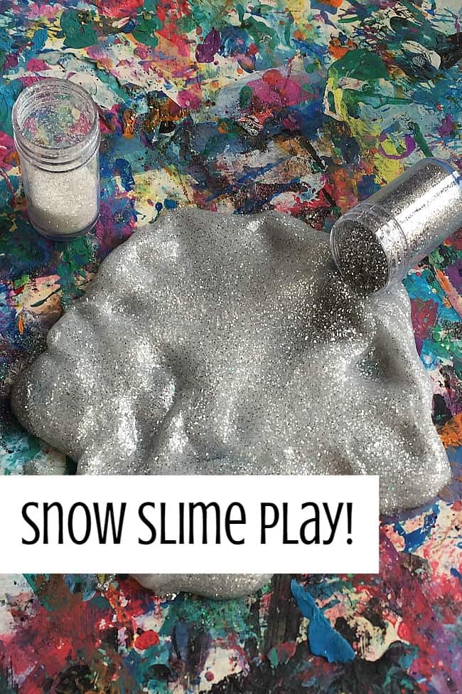 Winter sensory snow slime recpe for toddlers and preschoolers to make and play #sensoryplay #STEM #tactile #science