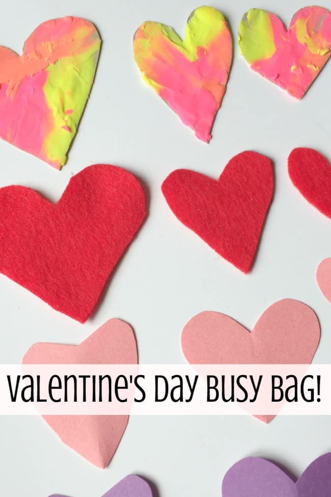 Valentine's day sorting hearts busy bag - sensory, math and art activity for toddlers and preschoolers