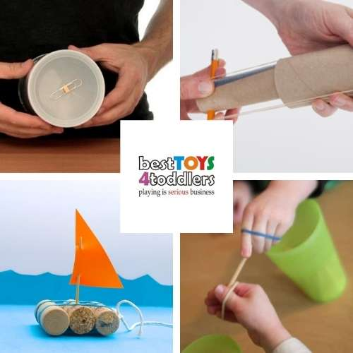 ideas with rubber bands - magic rollback can, indoor slingshot, DIY toy boat , rubber band passing game