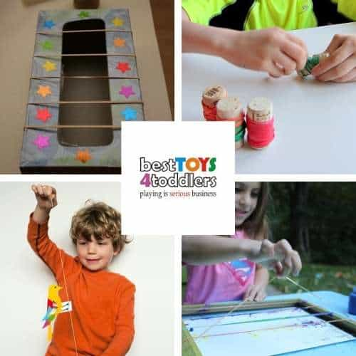 play ideas with rubber bands - tissue box guitar craft ,  estimate-unwrap-count,  oscillating bird science toy, splatter painting