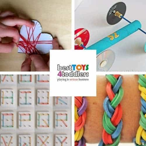 rubber band activities - wrapping loom bands around hearts, Rubber band car, ABC DIY Geoboard, DIY rubber band bracelets