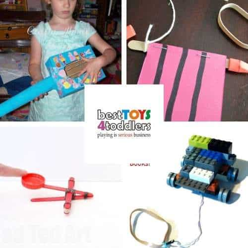 rubber band ideas for kids -  homemade string instrument, buzzing bug noisemaker toy, catapult toys, sling shot LEGO car