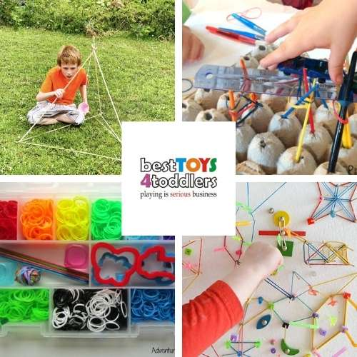 rubber band play ideas - rubber band catapult, paintbrush engineering challenge, loom band busy bag, crazy DIY geoboard
