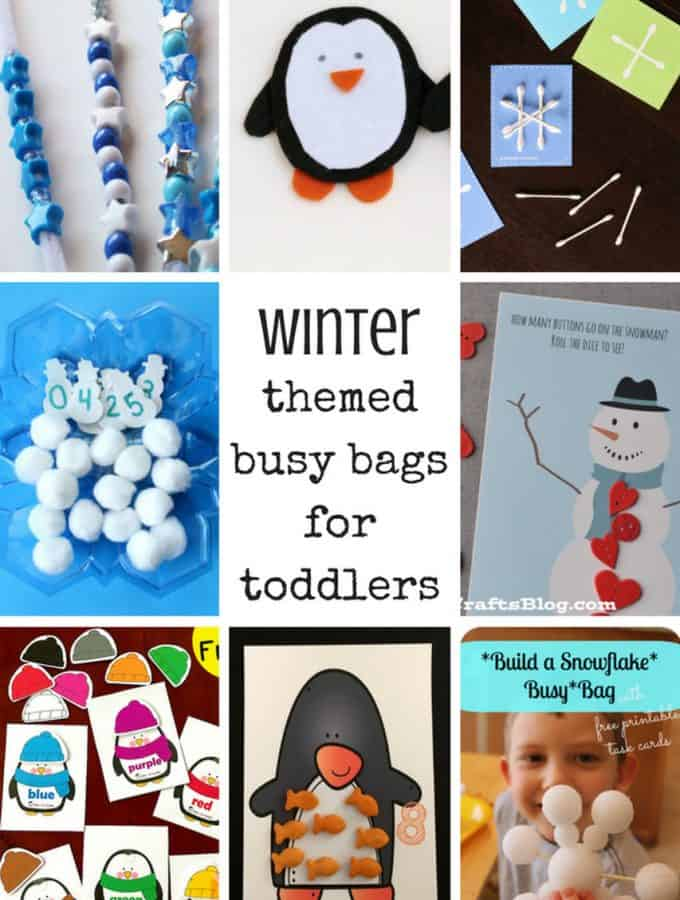collage of winter themed activities for toddlers