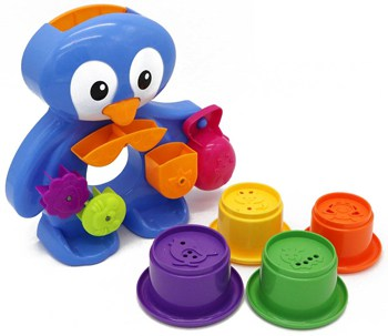 Best Play Set Toys For One Year Olds: PENGUIN Water Playset – bath toy set for 12 months plus babies with draining cans