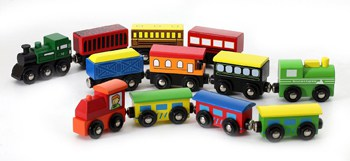 Best Play Set Toys For One Year Olds:Wooden Engines & Train Cards