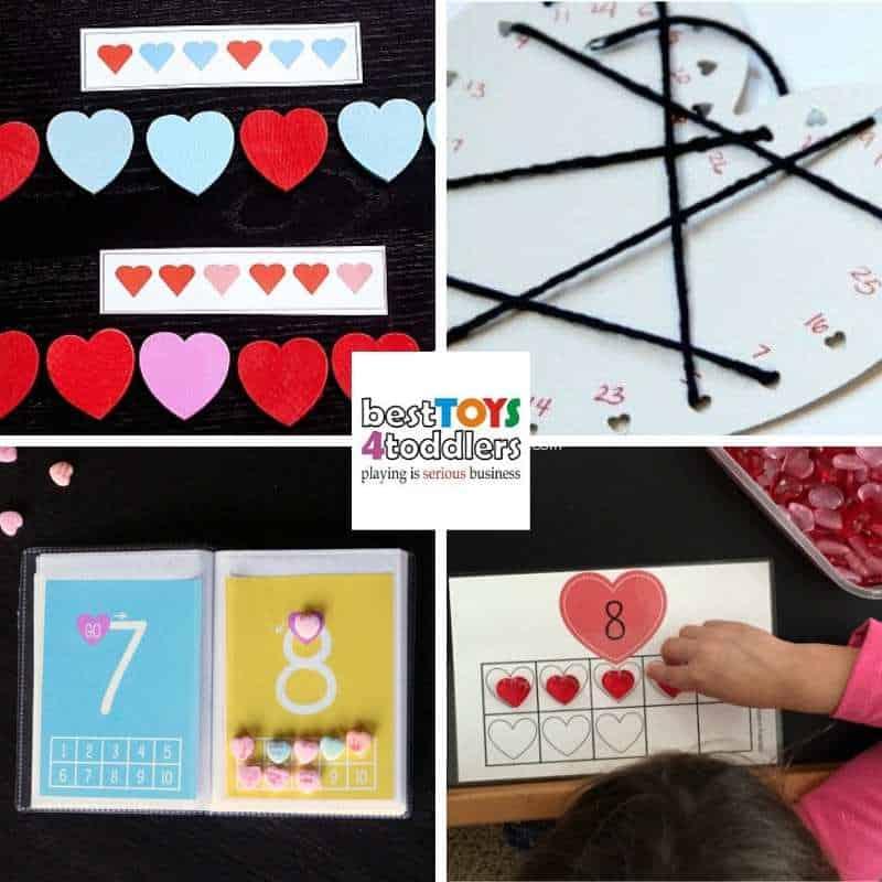 Valentines day busy bags with counting patterning and other fun early math activities