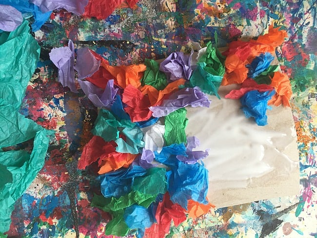 spring flowers tissue paper activity