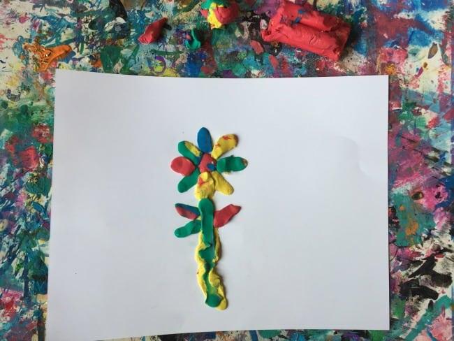 spring art - modeling dry clay flower