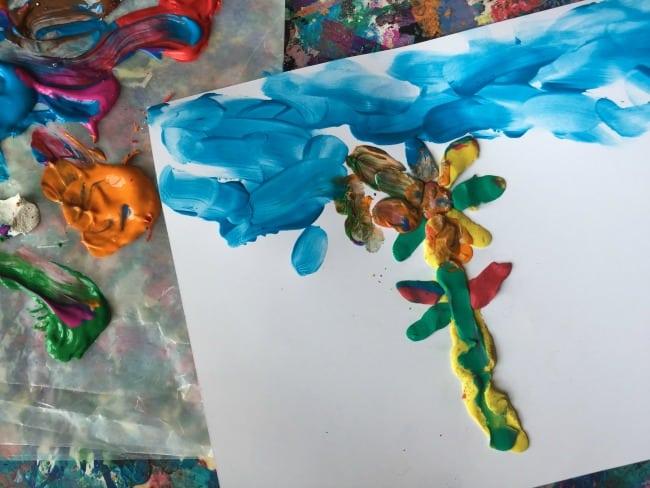 preschool spring finger paint