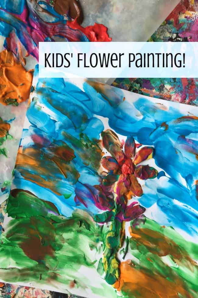 Impressionist Flower Art created with finger painting makes messy and fun sensory experience for toddlers and preschoolers