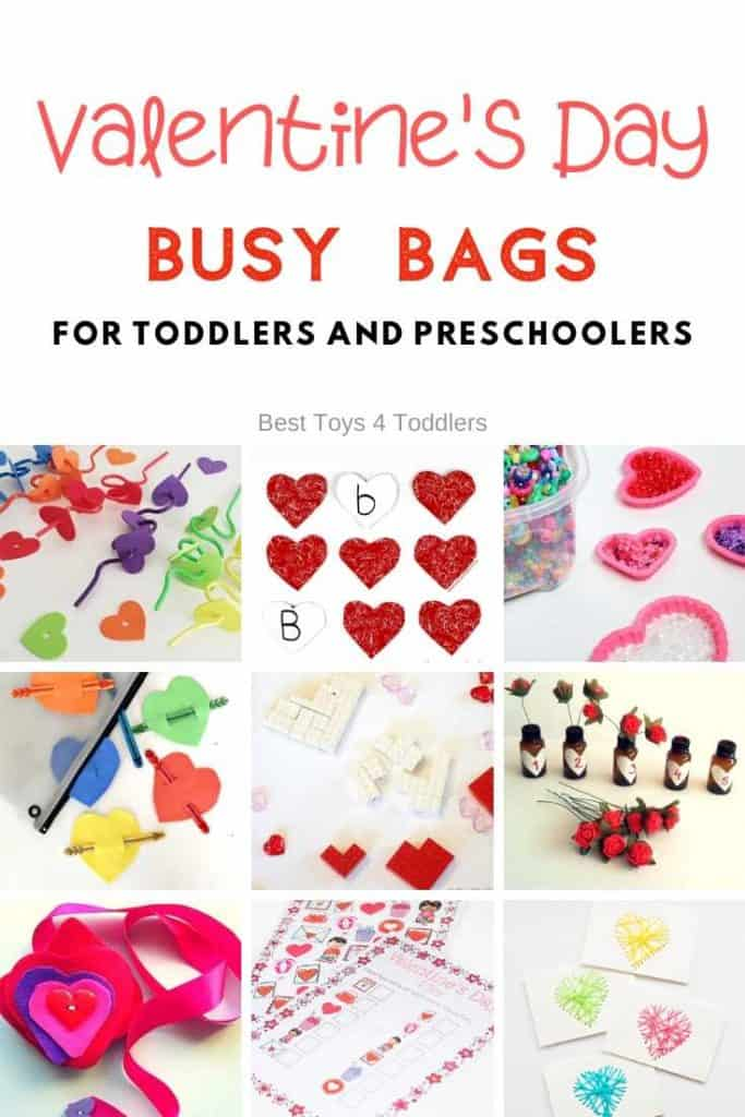 Valentine's Day busy bags and quiet time activities for toddlers and preschoolers to assist them with learning numbers, letters, fine motor skills and more.