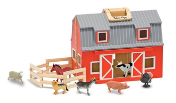 Top 10 Play Sets For 2 Year Olds: Wooden Barn With 7 Animal Play Figures