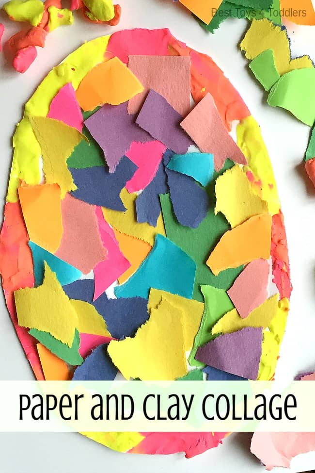 Fine motor paper and clay collage for preschoolers