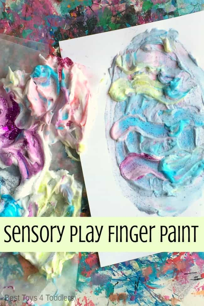 Spring theme sensory shaving cream paint activity for toddlers and preschoolers