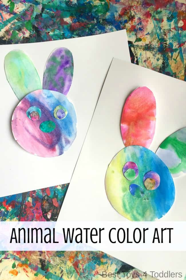 Watercolor Bunny Art Project to make with toddlers and preschoolers this Easter #eastercrafts #easter @BestToys4Tots
