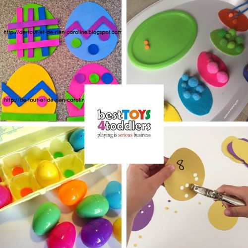 color games and fine motor skills with easter eggs