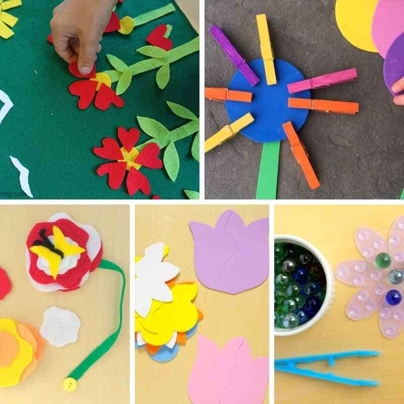 Flower themed busy bags for toddlers