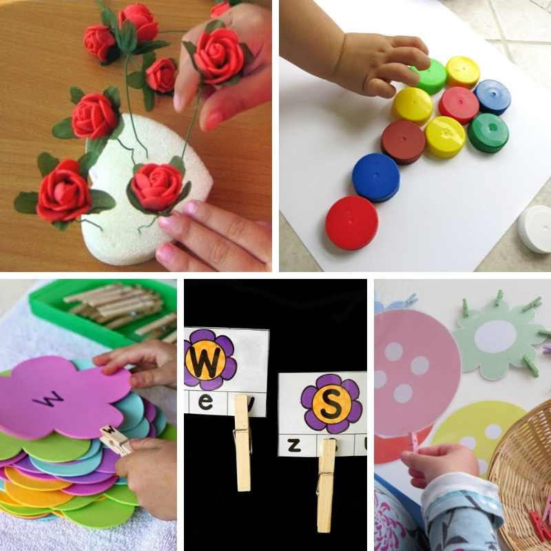 flower themed busy bags for kids