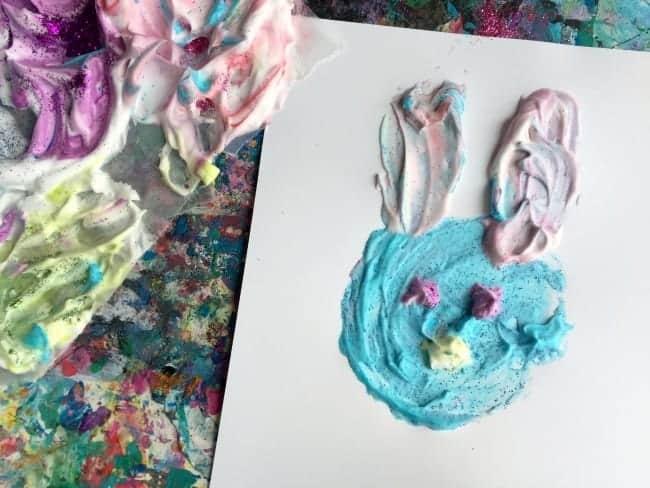 shaving cream painted bunny